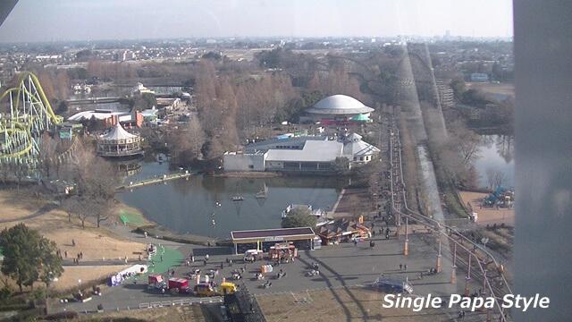東武動物公園観覧車ほぼ最高到達時の風景